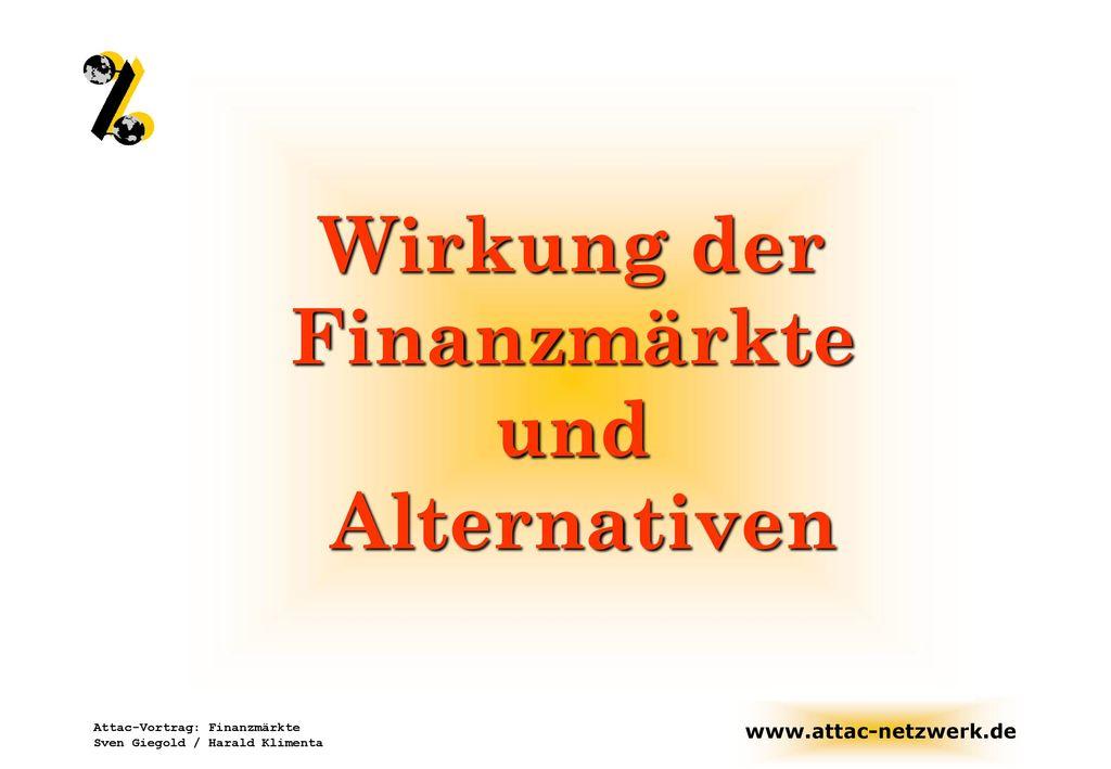 Wirkung der Finanzmärkte