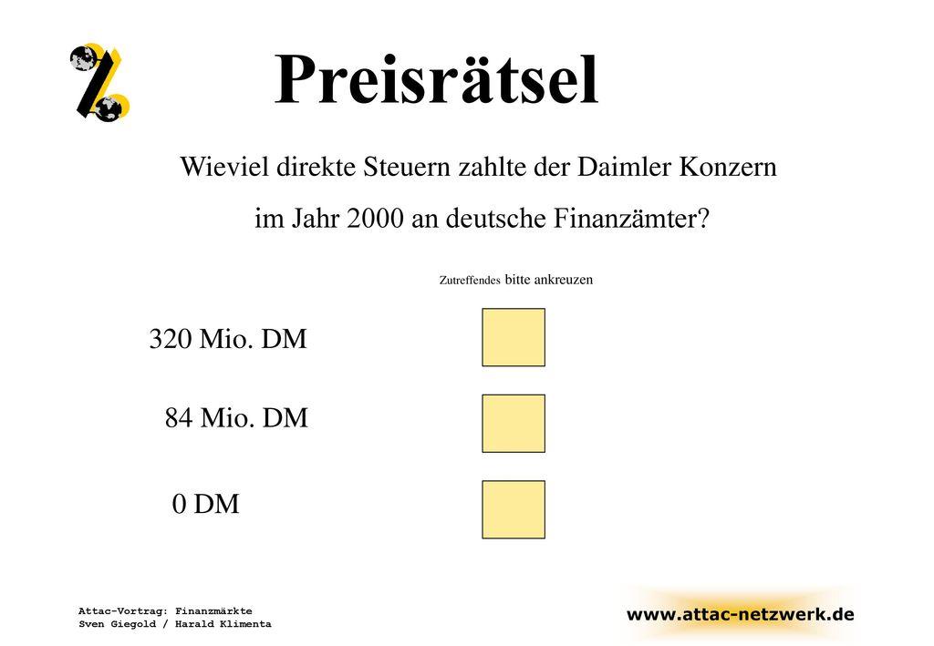 Preisrätsel Wieviel direkte Steuern zahlte der Daimler Konzern