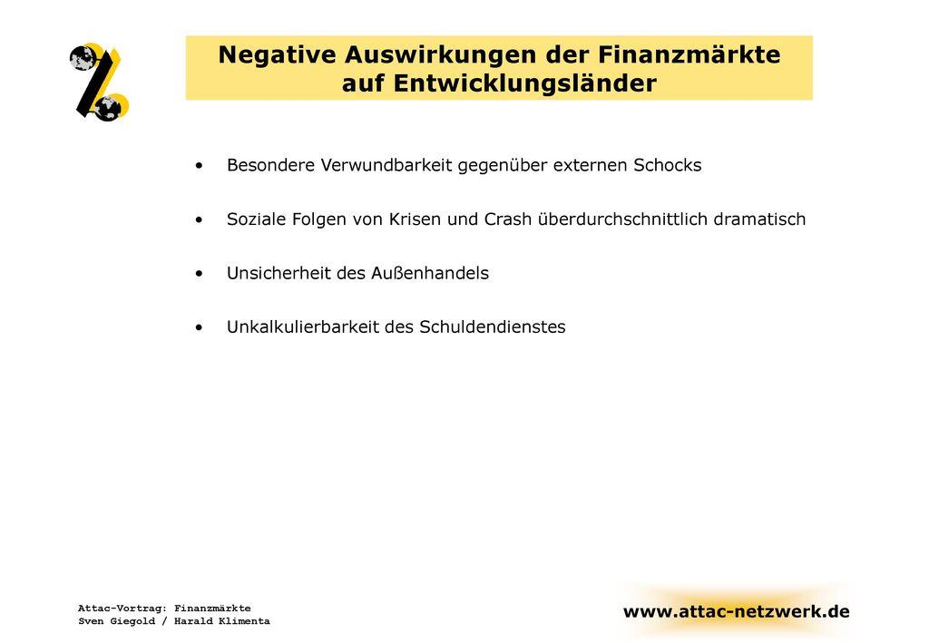 Negative Auswirkungen der Finanzmärkte auf Entwicklungsländer