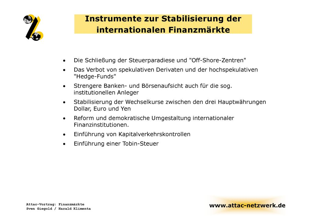 Instrumente zur Stabilisierung der internationalen Finanzmärkte