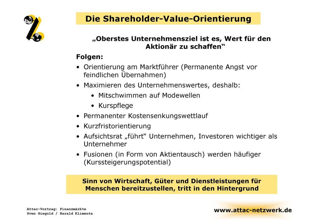 Die Shareholder-Value-Orientierung