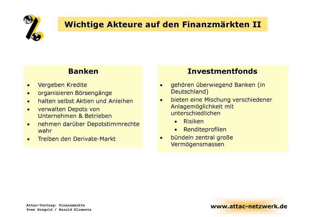 Wichtige Akteure auf den Finanzmärkten II