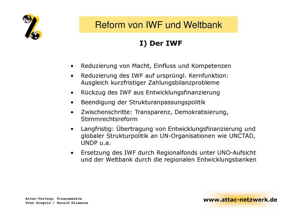 Reform von IWF und Weltbank