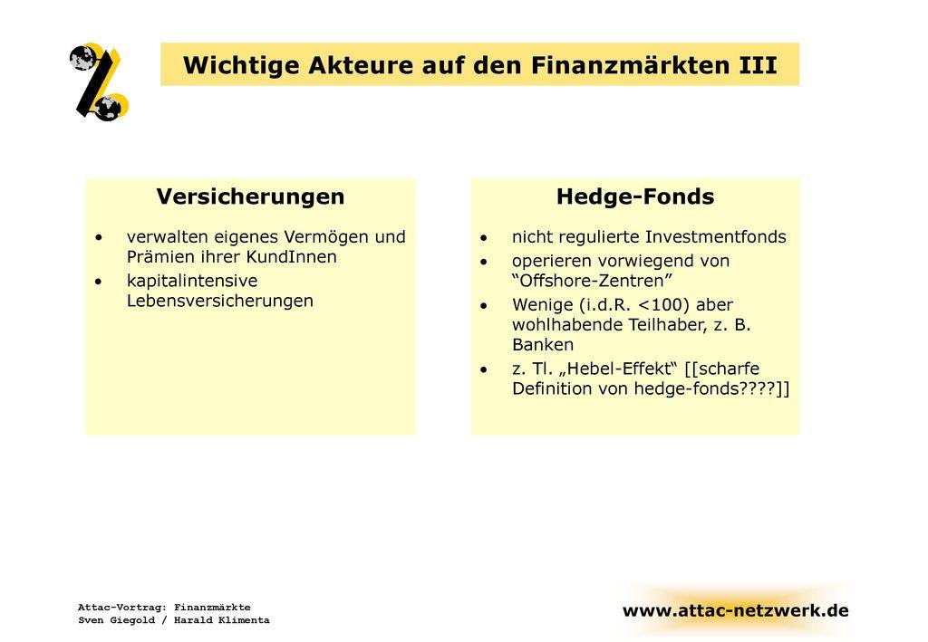 Wichtige Akteure auf den Finanzmärkten III