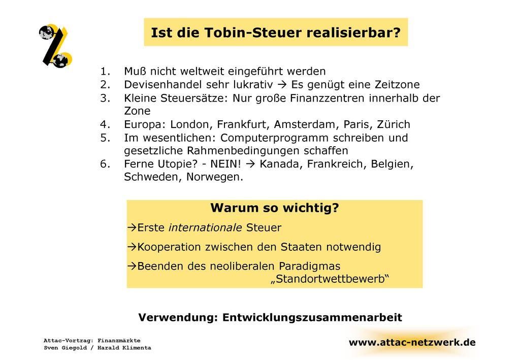 Ist die Tobin-Steuer realisierbar