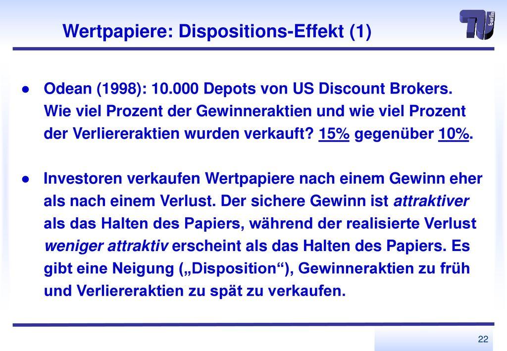 Wertpapiere: Dispositions-Effekt (1)