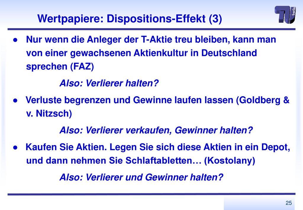 Wertpapiere: Dispositions-Effekt (3)