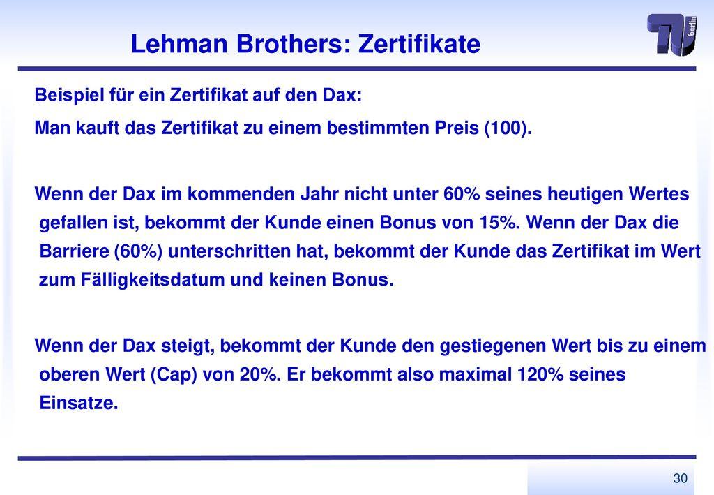 Lehman Brothers: Zertifikate