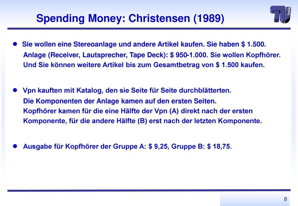 Spending Money: Christensen (1989)