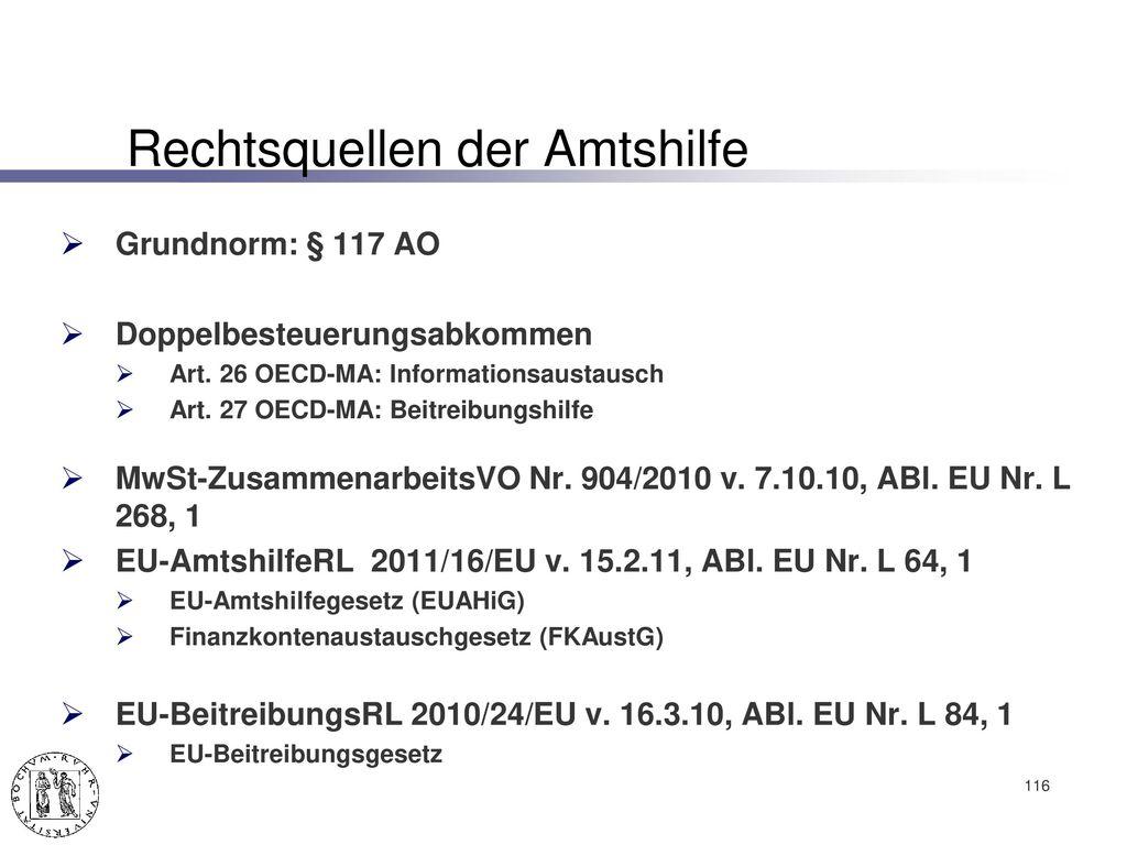 Europäische Amtshilfe im Bereich des Steuerrechts