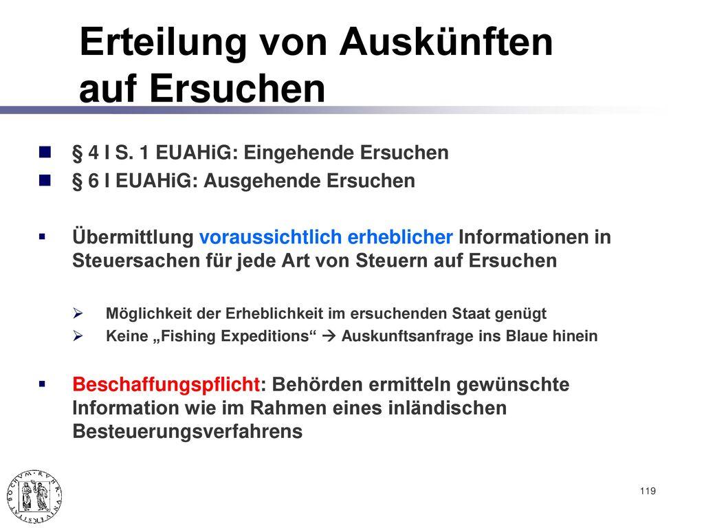 Informationsaustausch nach EUAHiG (v. 26.6.2013, BGBl. I 1809)