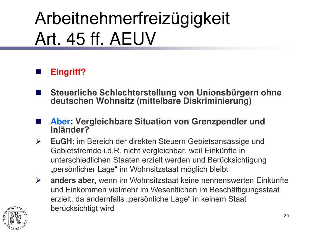 Arbeitnehmerfreizügigkeit Art. 45 ff. AEUV