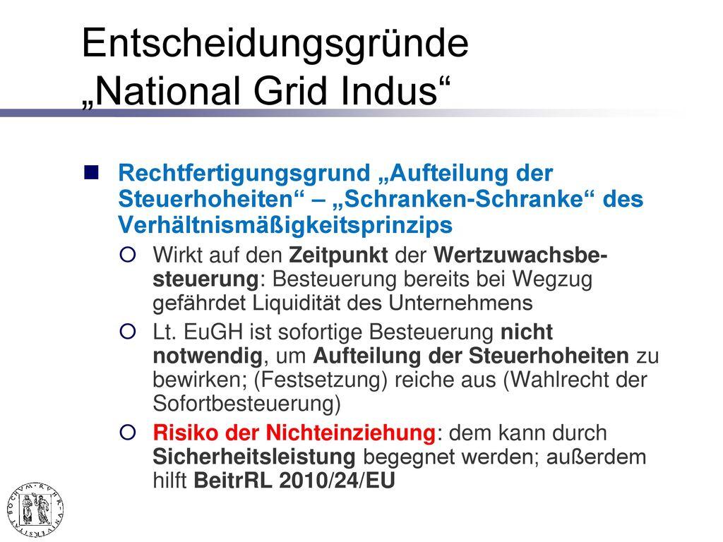 "Entscheidungsgründe ""National Grid Indus"