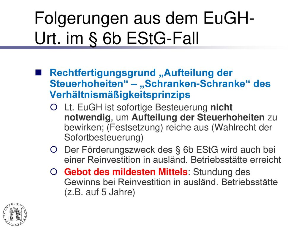 Inlandsbezug der § 6b EStG-Rücklage EuGH v. 6. 4