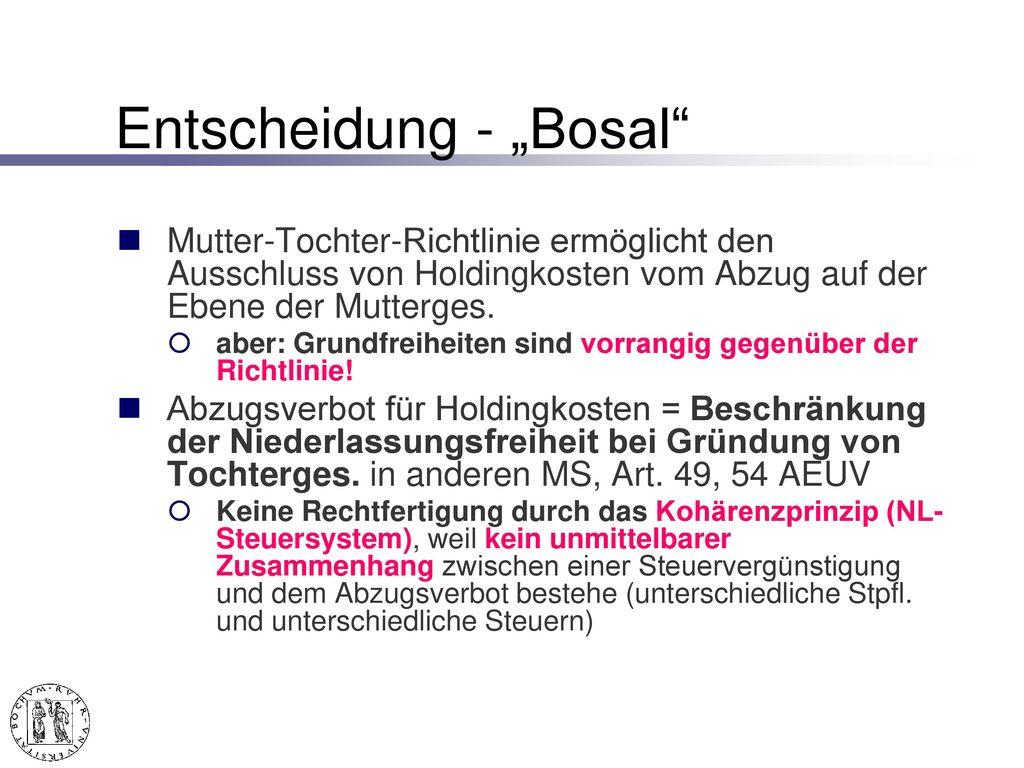 """""""Bosal – EuGH v. 18.9.2003 -168/01, Slg. 2003 I-9430"""