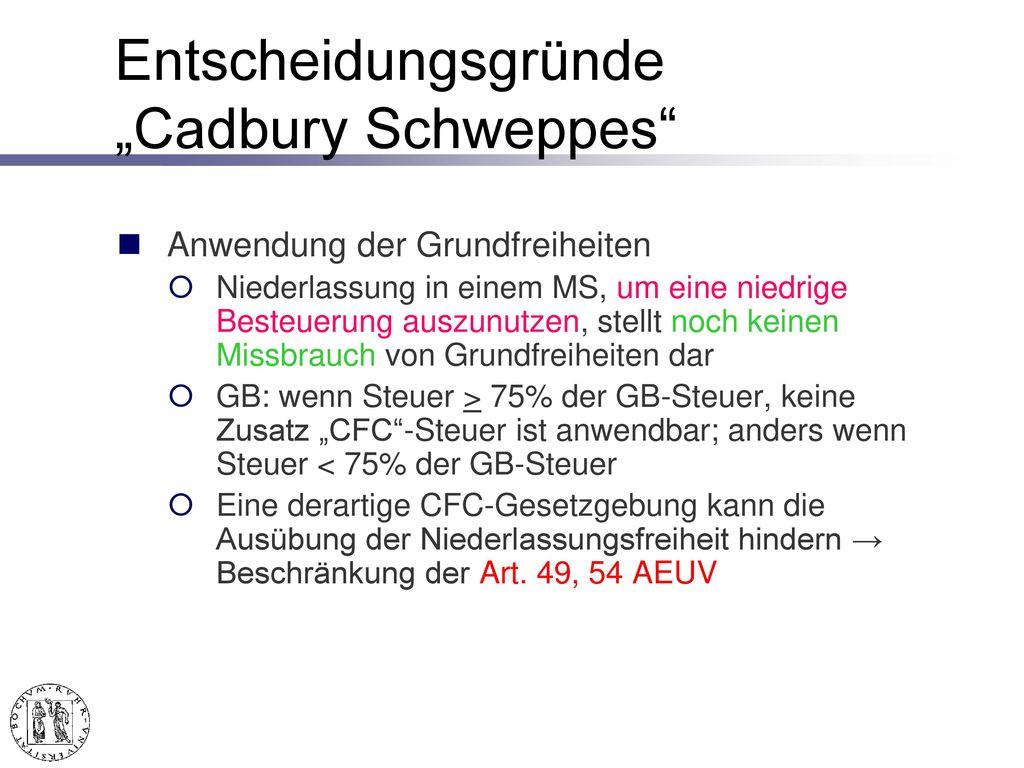 """""""Cadbury Schweppes – EuGH v. 12. 9. 2006, C-196/04, Slg"""