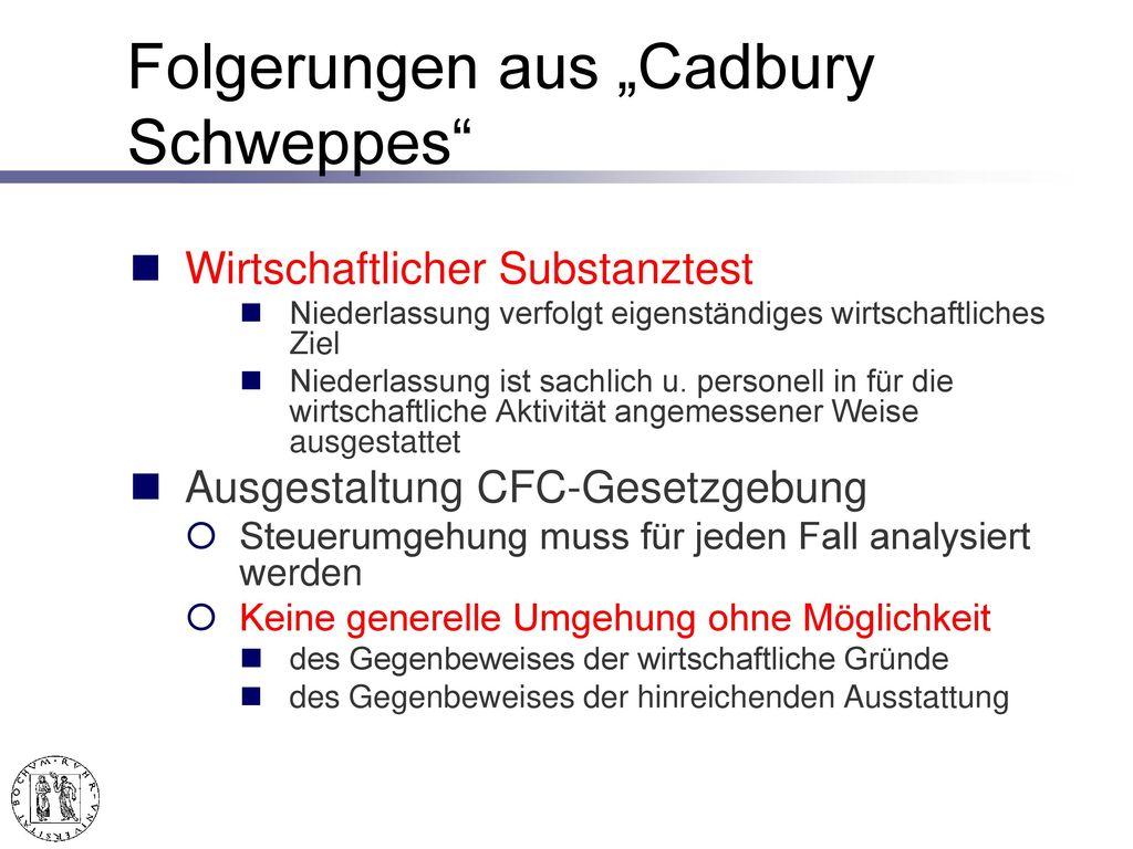 """Folgerungen von """"Cadbury Schweppes"""