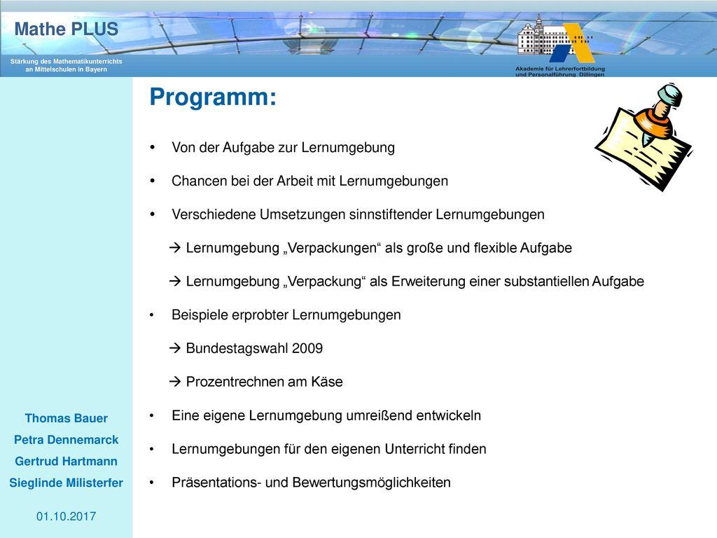 Programm: Von der Aufgabe zur Lernumgebung