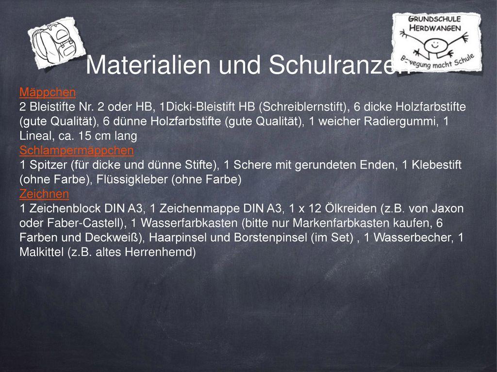 Materialien und Schulranzen