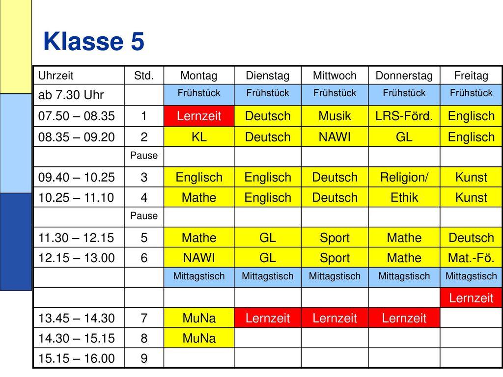 Klasse 5 ab 7.30 Uhr 07.50 – 08.35 1 Lernzeit Deutsch Musik LRS-Förd.