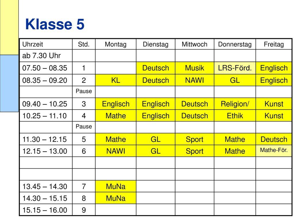 Klasse 5 ab 7.30 Uhr 07.50 – 08.35 1 Deutsch Musik LRS-Förd. Englisch