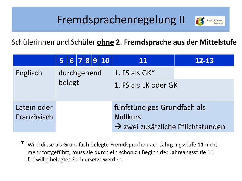 Fremdsprachenregelung II