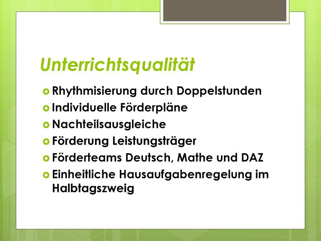 Unterrichtsqualität Rhythmisierung durch Doppelstunden