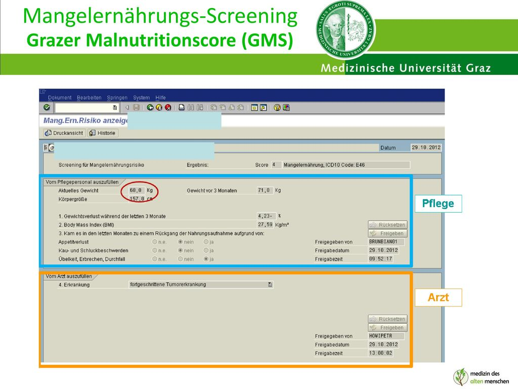Mangelernährungs-Screening Grazer Malnutritionscore (GMS)