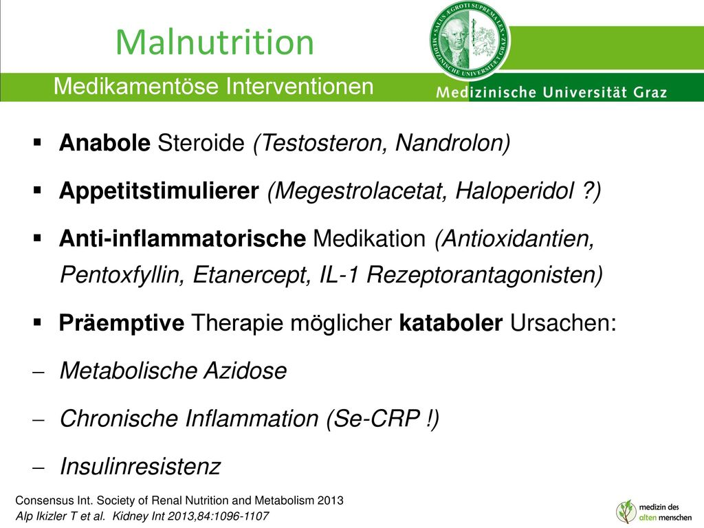 Malnutrition Medikamentöse Interventionen