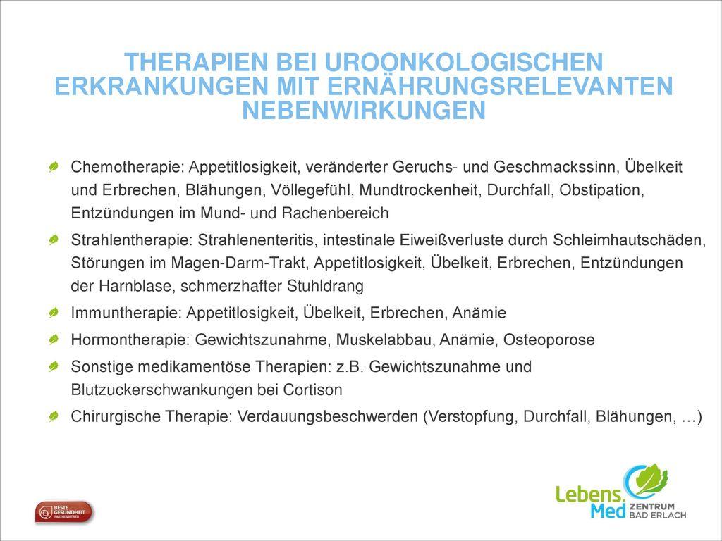 Therapien bei Uroonkologischen Erkrankungen mit Ernährungsrelevanten Nebenwirkungen