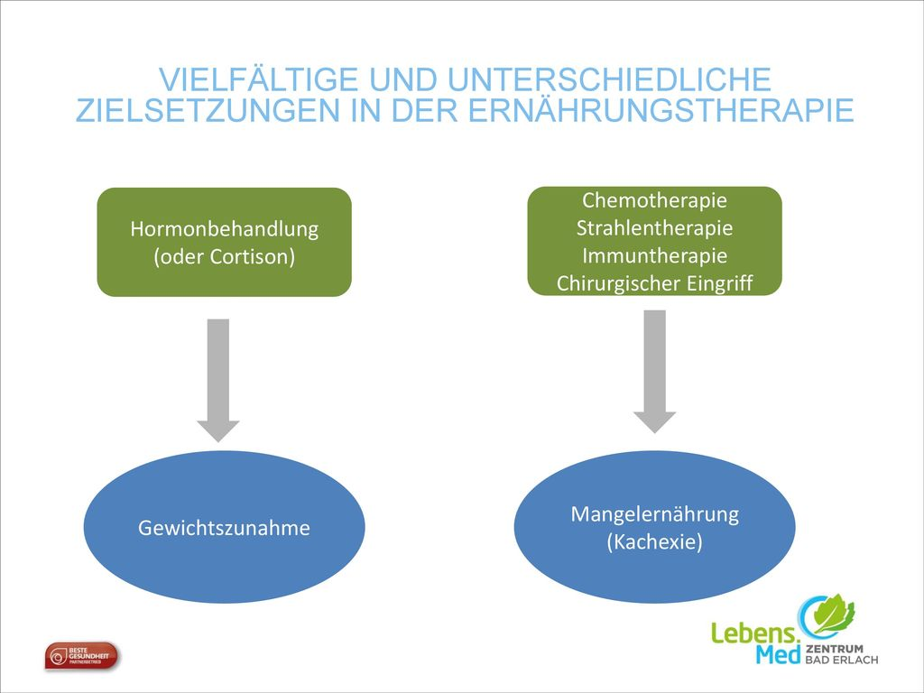 Vielfältige und Unterschiedliche Zielsetzungen in der Ernährungstherapie