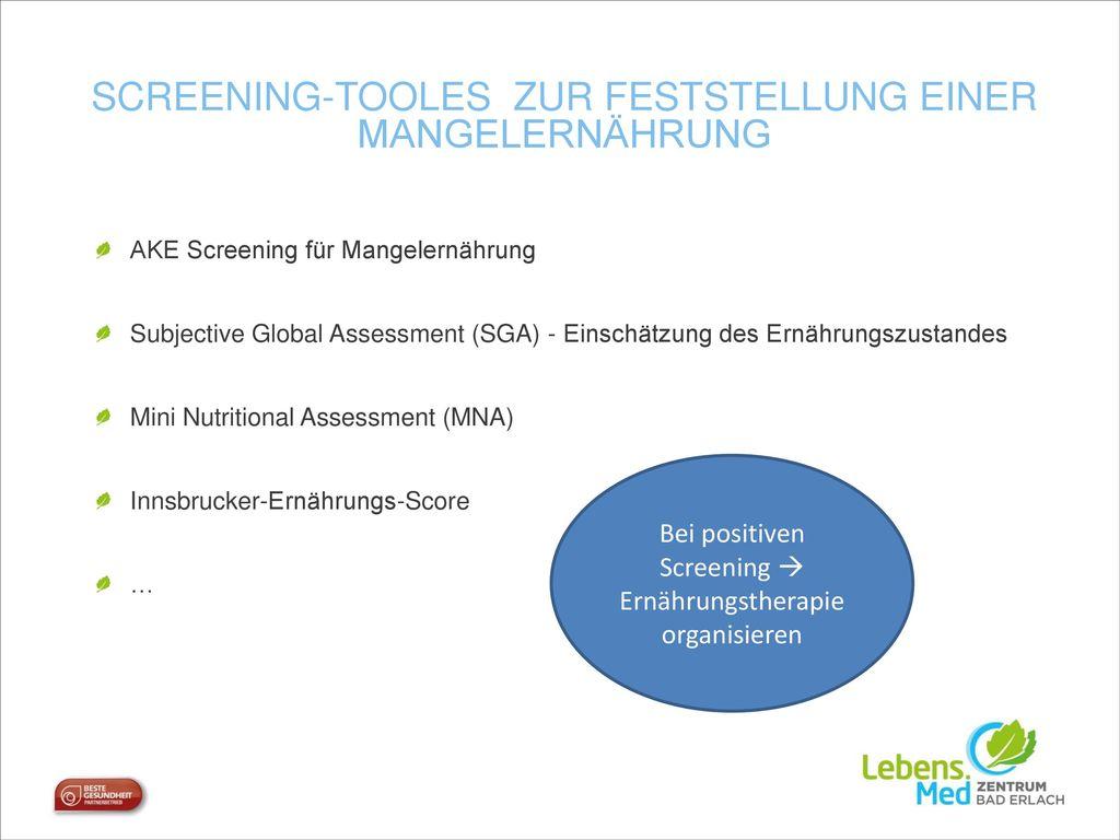 Screening-Tooles zur Feststellung einer mangelernährung