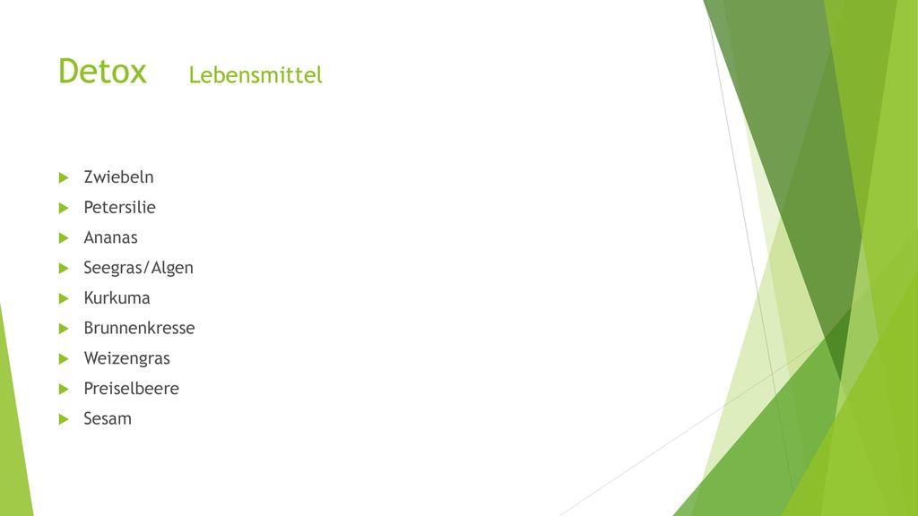 Detox Lebensmittel Zwiebeln Petersilie Ananas Seegras/Algen Kurkuma