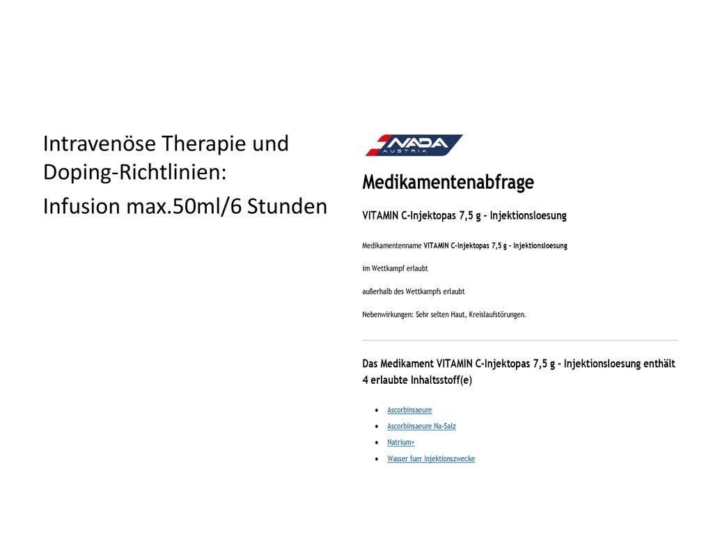 Intravenöse Therapie und Doping-Richtlinien: