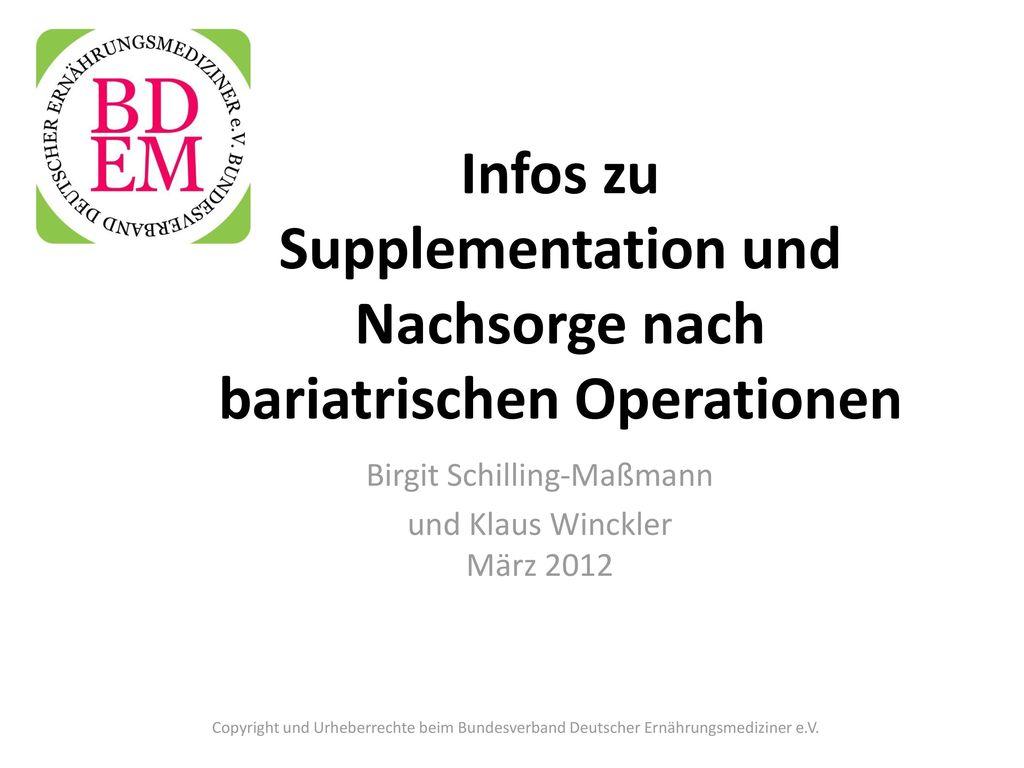 Infos zu Supplementation und Nachsorge nach bariatrischen Operationen