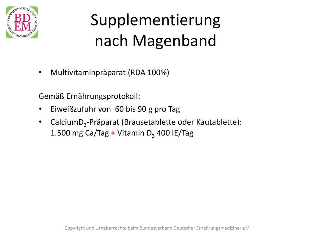 Supplementierung nach Magenband