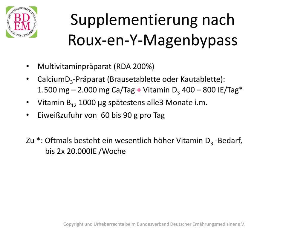 Supplementierung nach Roux-en-Y-Magenbypass