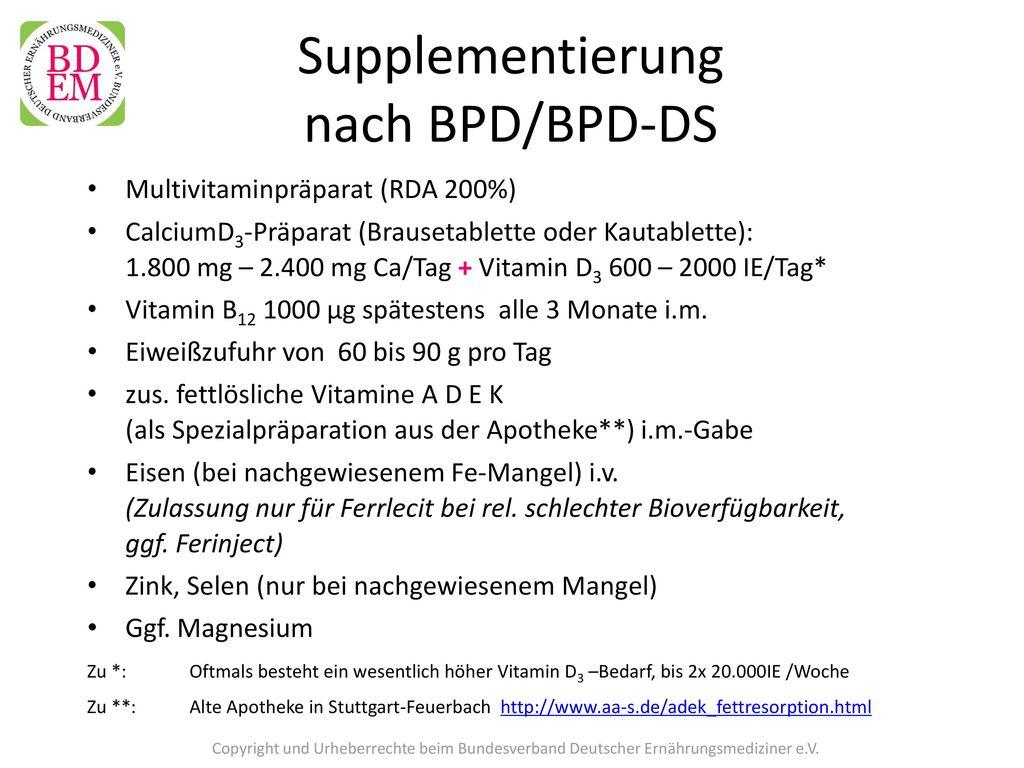 Supplementierung nach BPD/BPD-DS
