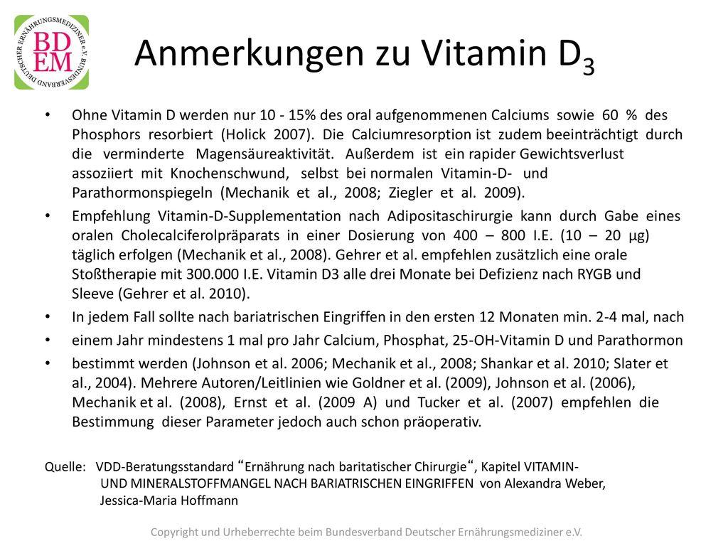 Anmerkungen zu Vitamin D3