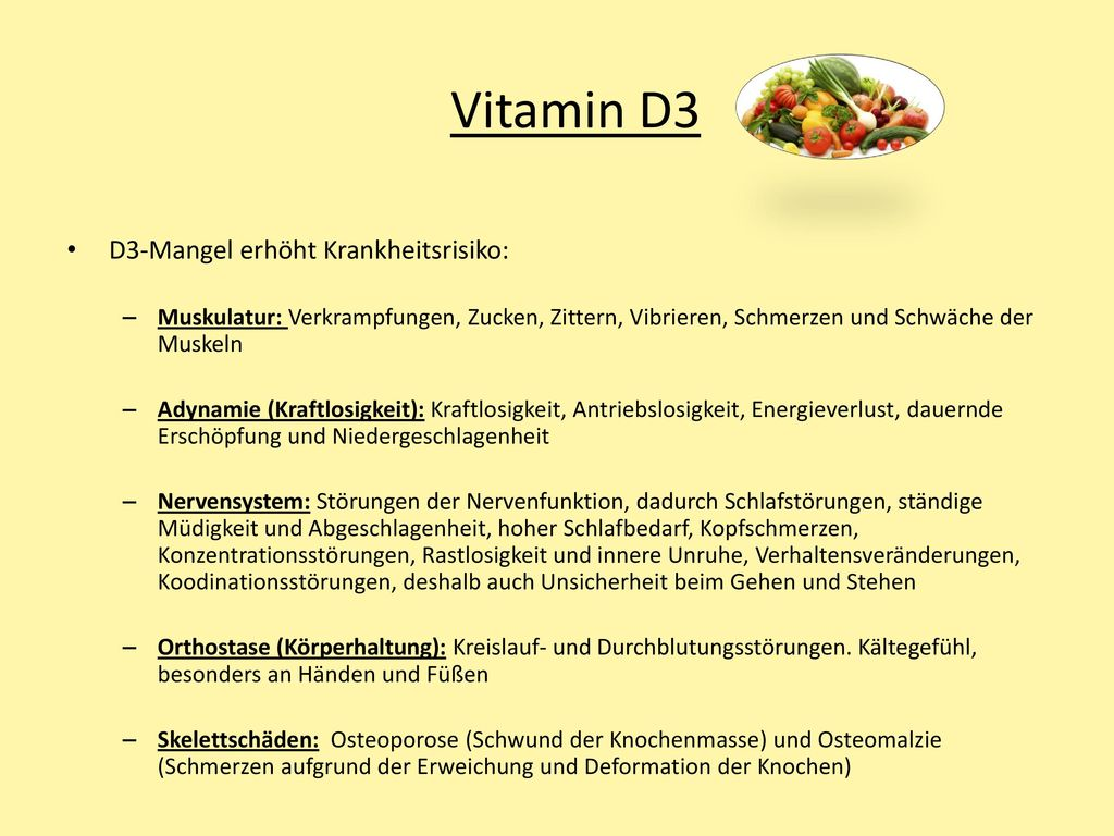 Vitamin D3 D3-Mangel erhöht Krankheitsrisiko: