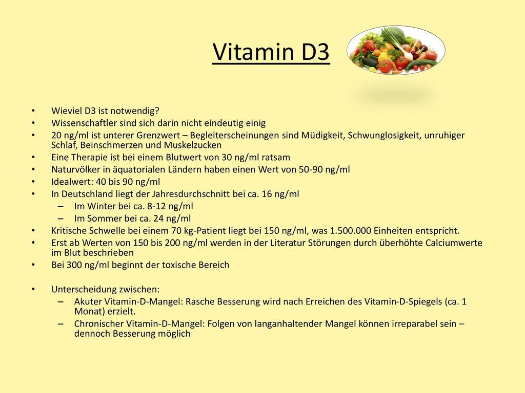 Vitamin D3 Wieviel D3 ist notwendig
