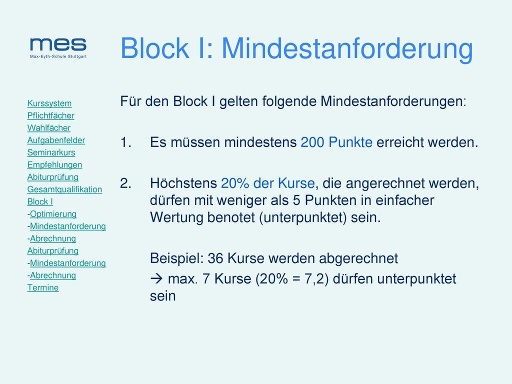 Block I: Mindestanforderung