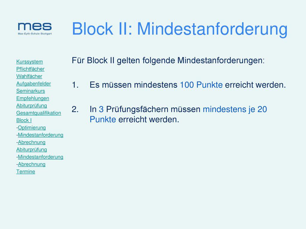 Block II: Mindestanforderung