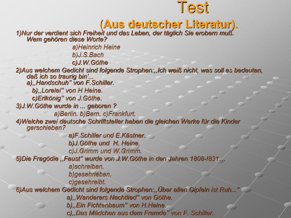 Test (Aus deutscher Literatur).