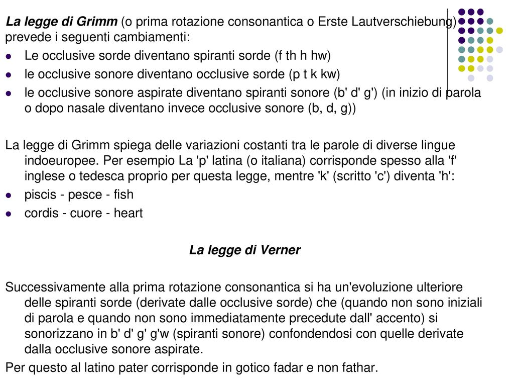 La legge di Grimm (o prima rotazione consonantica o Erste Lautverschiebung) prevede i seguenti cambiamenti: