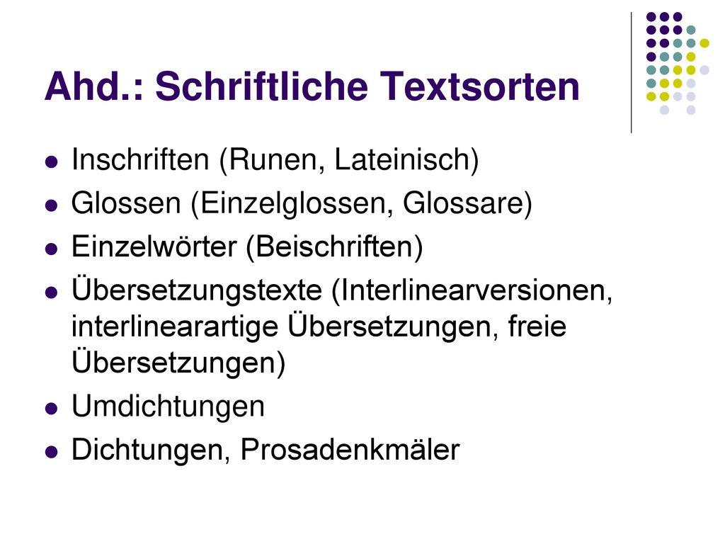 Ahd.: Schriftliche Textsorten