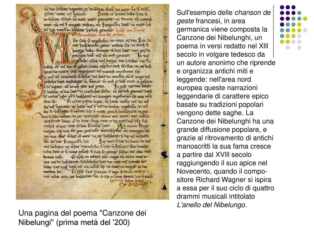 Una pagina del poema Canzone dei Nibelungi (prima metà del 200)