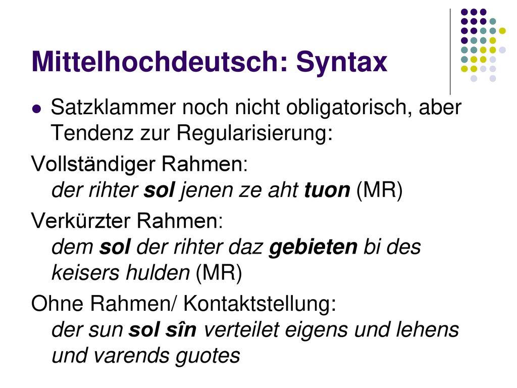 Mittelhochdeutsch: Syntax