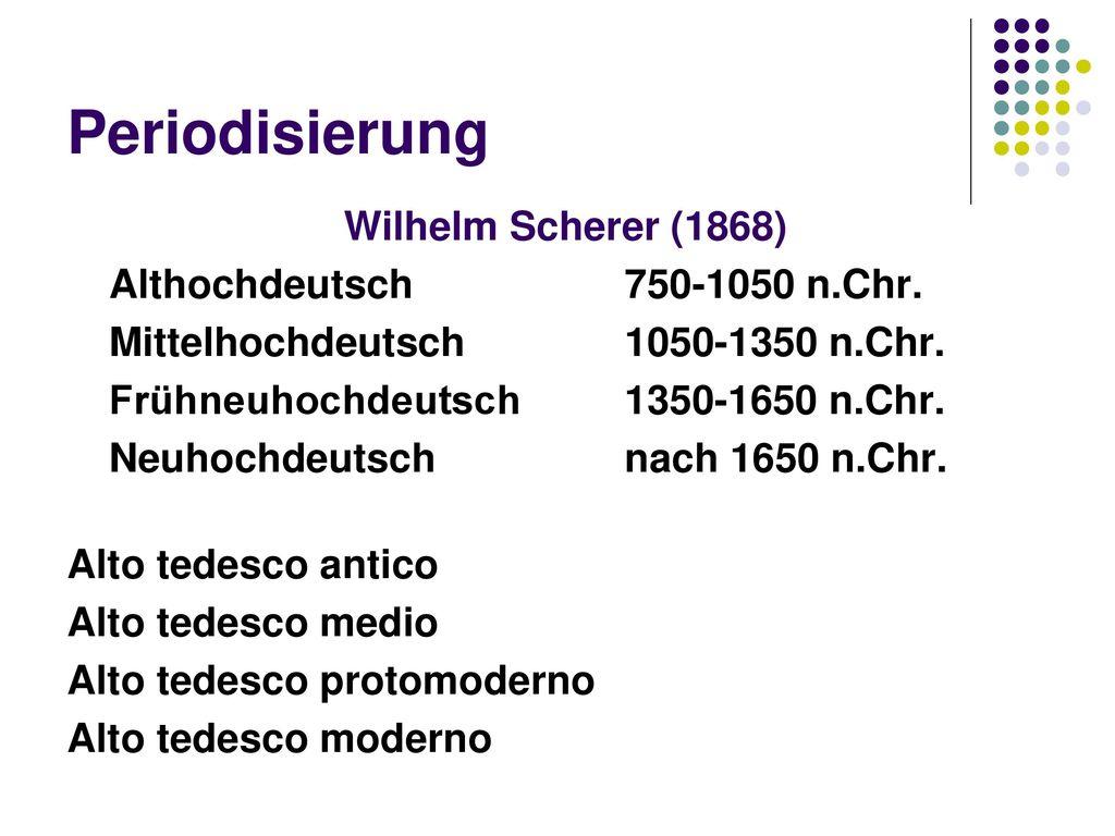 Periodisierung Wilhelm Scherer (1868) Althochdeutsch 750-1050 n.Chr.