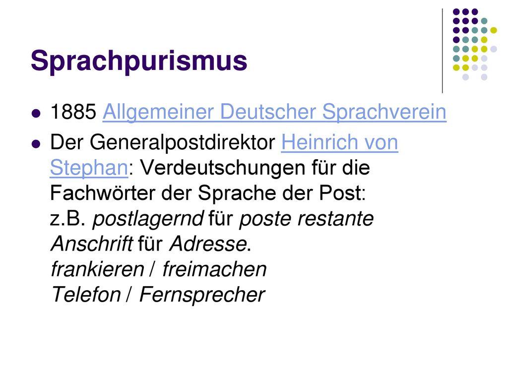 Sprachpurismus 1885 Allgemeiner Deutscher Sprachverein
